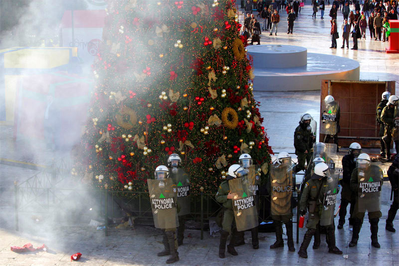 "Athens riot police play ""defend the tree"""