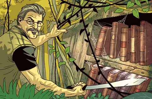 Robert Young Pelton, the National Geographic channel, illustration by Asaf Hanuka