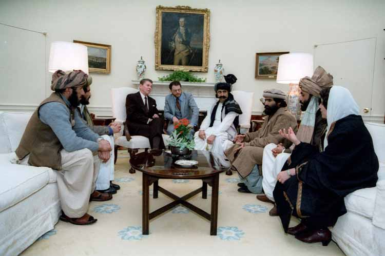Ronald Reagan meeting in the White House with Afghan mujahidin in March 1985