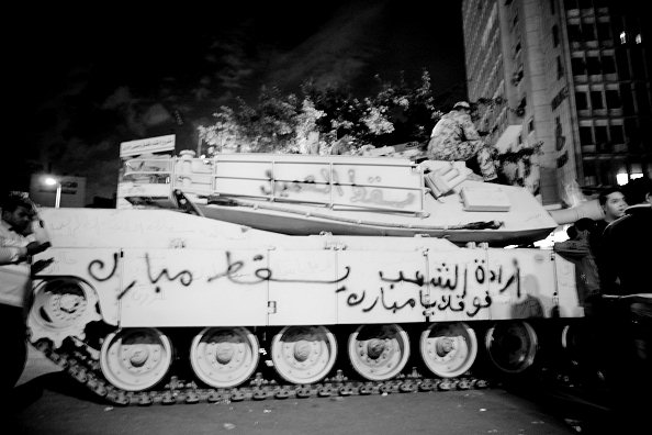 'The Will of The Egyptian People is above you Mubarak'--Anti-Mubarak graffiti on army tank in Tahrir Square...