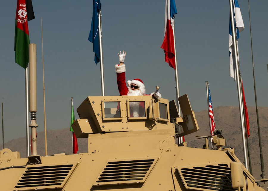 KABUL, Afghanistan - Santa Claus departs International Security Assistance Force Joint Command after visiting troops spreading joy and cheer. (ISAF Joint Command photo by U.S. Navy Petty Officer 1st Class Ryan Tabios)